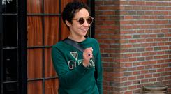 Ruth Negga steps out in a green Guinness sweatshirt and round sunglasses in New York. Picture: Splash News