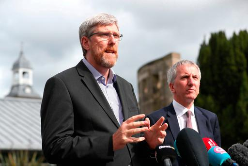 Sinn Fein's John O'Dowd (left) and Mairtin O Muilleoir talk to the media following talks aimed at restoring powersharing in Northern Ireland. Photo: Brian Lawless/PA Wire
