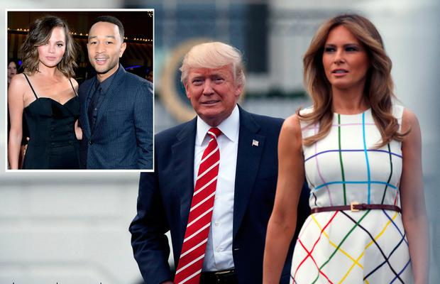 US President and first lady Donald and Melania Trump and inset, Chrissy Teigen and John Legend