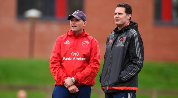 29 December 2016; Munster director of rugby Rassie Erasmus and defence coach Jacques Nienaber during squad training at the University of Limerick in Limerick. Photo by Diarmuid Greene/Sportsfile