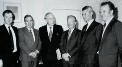 Donal Murphy (second from left) at a meeting with An Taoiseach, Charles Haughey TD., and Minister for Agriculture, Michael O'Kennedy. Also in the picture Ciaran Dolan, Chief Economist, ICMSA, Tom O'Dwyer, President, ICMSA and Con Scully, Deputy President, ICMSA.