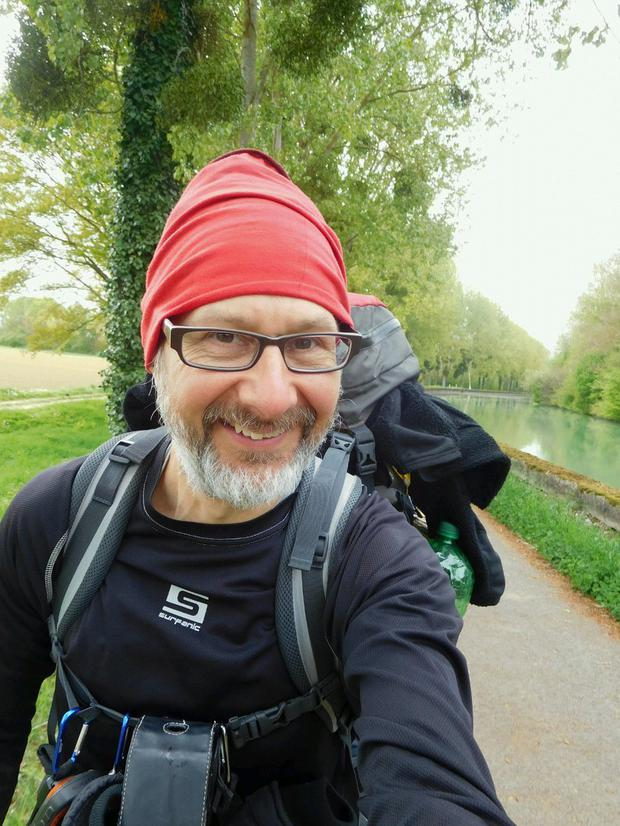 Ben Klaasen (50) has taken a break from his career as a software tester and instead decided to walk across Europe (Image: Twitter)