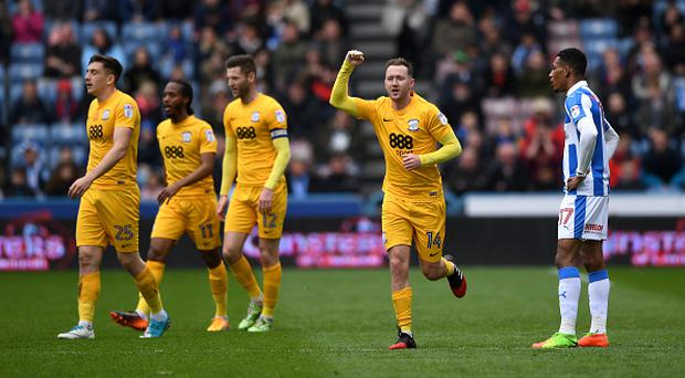 Aiden McGeady of Preston celebrates scoring the first goal during the Sky Bet Championship match between Huddersfield Town and Preston North End at Galpharm Stadium on April 14, 2017 in Huddersfield, England. (Photo by Gareth Copley/Getty Images)