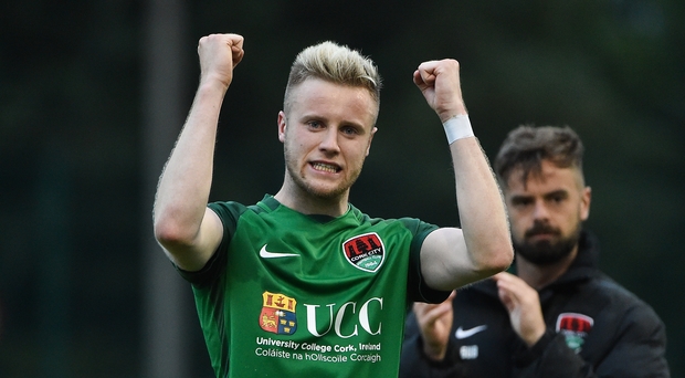 Kevin O'Connor of Cork City celebrates at the end of the SSE Airtricity League Premier Division match between Derry City and Cork City at Maginn Park in Buncrana, Co Donegal. Photo by David Maher/Sportsfile