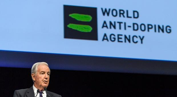 World Anti-Doping Agency (WADA) President, Craig Reedie, addresses the assembly at the opening of the 2017 edition of its WADA Annual Symposium on March 13, 2017 in Lausanne. / AFP PHOTO / FABRICE COFFRINI/AFP/Getty Images.