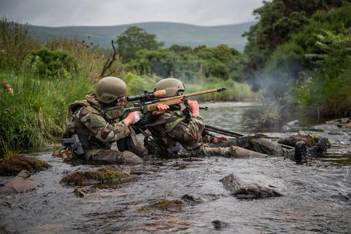 Marksmen from the Irish Army Rangers take part in the shooting competition