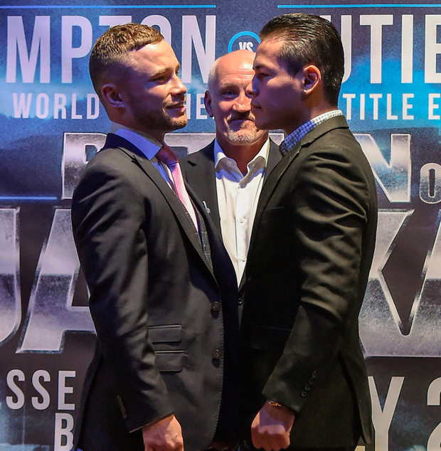 Carl Frampton (left) and Andreas Gutierrez get acquainted with each other. Pic: Sportsfile
