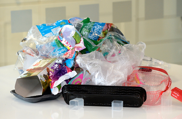 Even a modest spend of just €40 on typical items in a leading supermarket produced this mound of plastic and cardboard waste Photo: Justin Farrelly