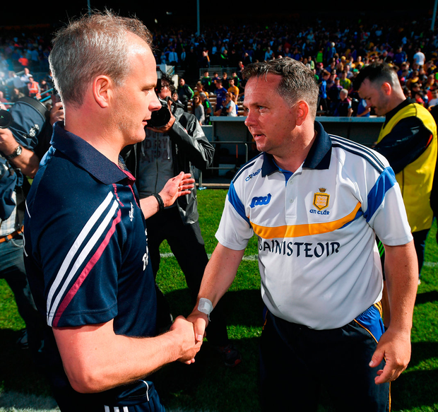 Galway manager Micheál Donoghue shakes hands with Davy Fitzgerald after their victory against Clare in last year's All-Ireland SHC quarter-final Photo: Stephen McCarthy/Sportsfile