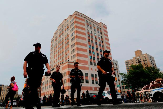 NYPD officers stand guard outside the Bronx-Lebanon Hospital as they respond to an active shooter north of Manhattan in New York on June 30, 2017. / AFP PHOTO / EDUARDO MUNOZ ALVAREZEDUARDO MUNOZ ALVAREZ/AFP/Getty Images