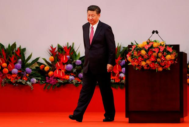 Chinese President Xi Jinping walks after giving his speech during the 20th anniversary of the city's handover from British to Chinese rule, in Hong Kong, China, July 1, 2017. REUTERS/Bobby Yip