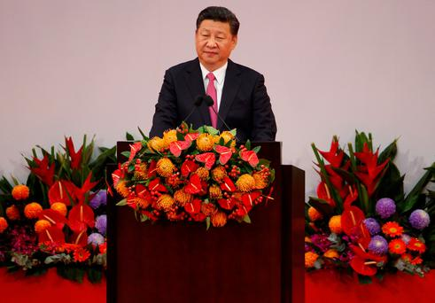 Chinese President Xi Jinping delivers his speech during the 20th anniversary of the city's handover from British to Chinese rule, in Hong Kong, China, July 1, 2017. REUTERS/Bobby Yip