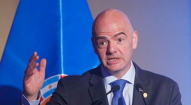 FIFA President Gianni Infantino speaks during the 67th CONMEBOL Congress at Sheraton Hotel on April 26, 2017 in Santiago, Chile. (Photo by Esteban Garay/LatinContent/Getty Images)