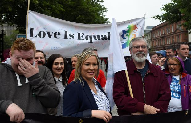 Sinn Fein President, Gerry Adams, and the leader of Sinn Fein in Northern Ireland, Michelle O'Neill, join demonstrators participating in the 'March For Marriage,' demanding equal marriage legislation in Northern Ireland, in Belfast, Northern Ireland, July 1, 2017. REUTERS/Clodagh Kilcoyn
