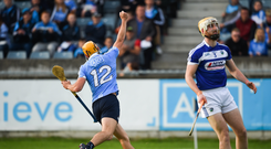 Eamon Dillon of Dublin celebrates afer scoring his side's first goal during the GAA Hurling All-Ireland Senior Championship Round 1 match between Dublin and Laois at Parnell Park in Dublin. Photo by David Fitzgerald/Sportsfile