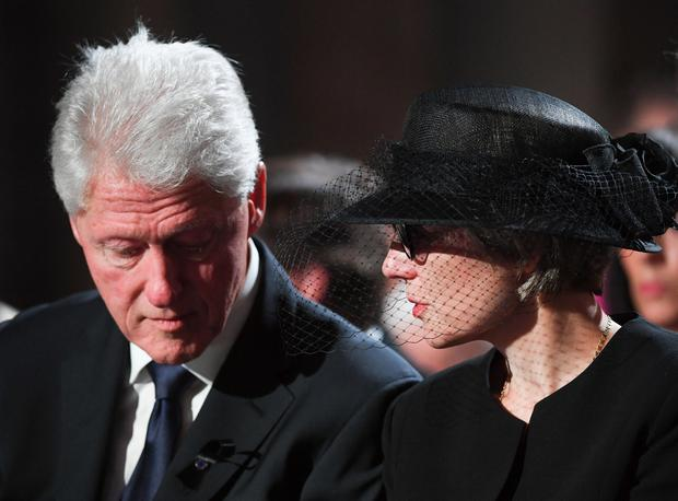 Former U.S. President Bill Clinton and Maike Kohl-Richter attend a pontifical requiem mass for late former German Chancellor Helmut Kohl in the cathedral in Speyer, Germany, July 1, 2017. REUTERS/Marijan Murat/Pool