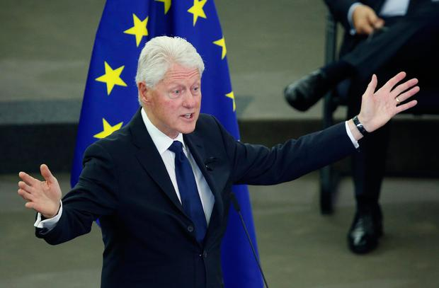 Former U.S. President Bill Clinton delivers a speech during of a memorial ceremony in honour of late former German Chancellor Helmut Kohl at the European Parliament in Strasbourg, France, July 1, 2017. REUTERS/Francois Lenoir