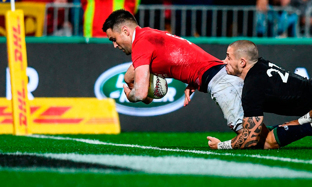 Conor Murray scores the Lions' second try in yesterday's win over the All Blacks at Westpac Stadium in Wellington. Photo: Stephen McCarthy/Sportsfile