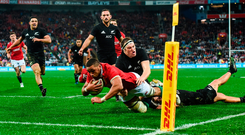 Taulupe Faletau scores the Lions' first try during the second Test against New Zealand at Westpac Stadium in Wellington yesterday. Photo: Sportsfile