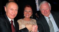 Kremlin call: Russian president Vladimir Putin and ex-president of the Olympic Council of Ireland Pat Hickey share a love of judo