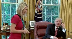 RTE's Caitriona Perry and President Trump