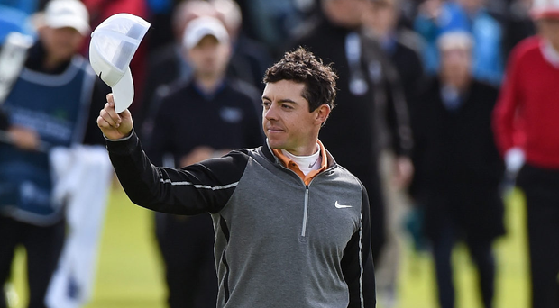 Rory McIlroy acknowledges supporters as he approaches the 18th green during the final round of last year's Dubai Duty Free Irish Open at the K Club. Photo: Sportsfile