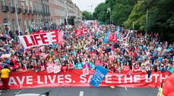 Campaign: Thousands of people took part in the annual Rally for Life march at Merrion Square, in Dublin, yesterday. Photo: Fergal Phillips