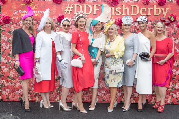 Best Dressed Lady finalists with Breeda Mcloughlin (centre) of Dubai Duty Free with fellow judges Chanelle McCoy, Bairbre Power & Melanie Morris at the Dubai Duty Free Irish Derby at the Curragh racecourse Co Kildare on the 1st of July. . Photo: Anthony Woods