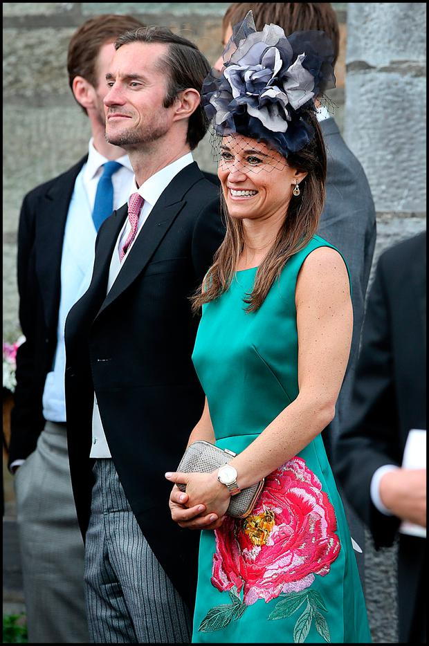 Pippa Middleton with husband James Matthews at the Sacred Heart Chuch in Glengarriff where the wedding of Camilla Campion-Awwad took place. PIc Steve Humphreys 1st July 2017