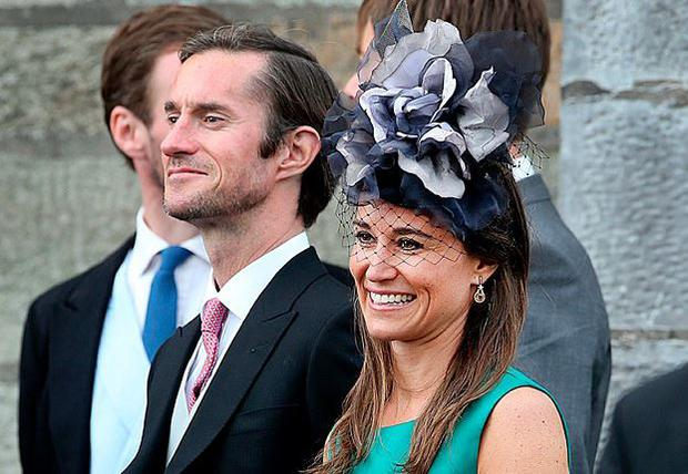 Pippa Middleton with husband James Matthews at the Sacred Heart Chuch in Glengarriff where the wedding of Camilla Campion-Awwad took place. PIc Steve Humphreys