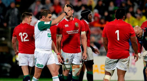 Lions' Mako Vunipola is shown a yellow card yesterday. REUTERS/Anthony Phelps
