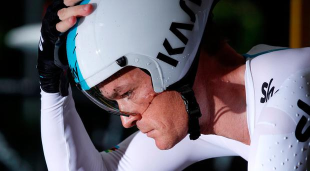 Team Sky rider Vasil Kiryienka of Belarus starts the first stage. REUTERS/Benoit Tessier