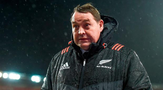 New Zealand head coach Steve Hansen during the Second Test match between New Zealand All Blacks and the British & Irish Lions at Westpac Stadium in Wellington, New Zealand. Photo by Stephen McCarthy/Sportsfile