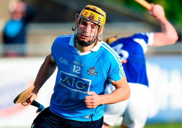 Eamon Dillon after scoring Dublin's second goal at Parnell Park on Saturday. Photo: David Fitzgerald/Sportsfile