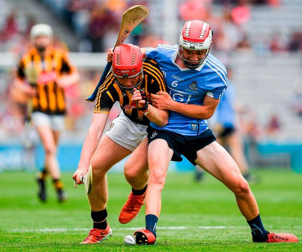 Kilkenny's Adrian Mullen battles with Dublin's Luke Walsh for possession during the Electric Ireland Leinster MHC final at Croke Park. Photo: Ray McManus/Sportsfile