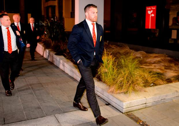 Sean O'Brien arrives at New Zealand Rugby Offices in Wellington for a judicial hearing where he was cleared after after being cited for dangerous play during the second Test of the Lions Series in Wellington. Pic: Sportsfile