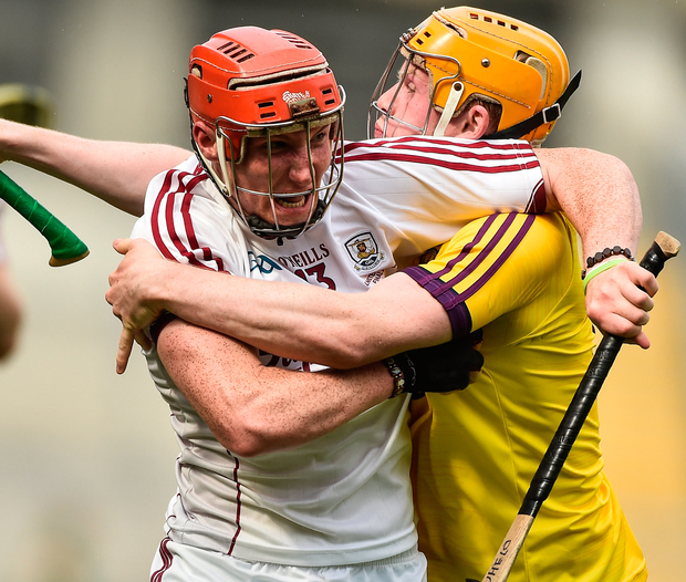 Conor Whelan of Galway in action against Simon Donohoe of Wexford during the Leinster GAA Hurling Senior Championship Final match between Galway and Wexford at Croke Park in Dublin. Photo: Sportsfile