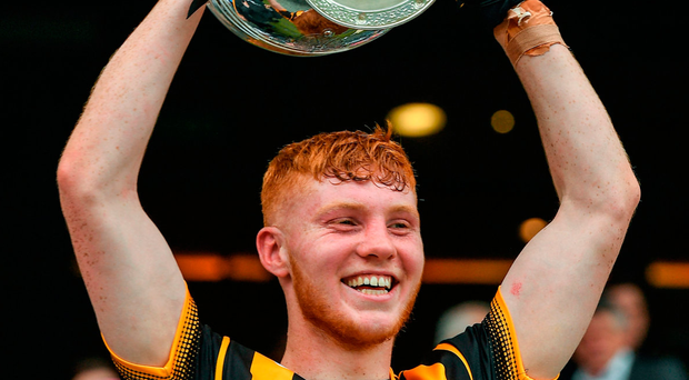 2 July 2017; Kilkenny captain Adrian Mullen lifts cup after the Electric Ireland Leinster GAA Hurling Minor Championship Final match between Dublin and Kilkenny at Croke Park in Dublin. Photo by Ray McManus/Sportsfile