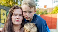 Cheryl Barnewell and her sons Clayton, 9, and Rocco, 2 Picture: Arthur Carron