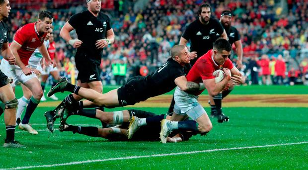 Conor Murray dives over to score the second try to get the Lions back in the game. Photo: David Davies/PA Wire