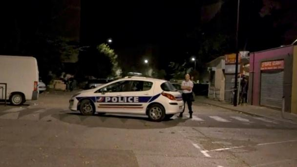 A police officer stands guard on a street near a scene of a shooting in front of a mosque, in this still image from video, in Avignon, France July 3, 2017. Photo: REUTERS/REUTERS TV