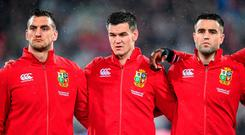 British and Irish Lions players, from left, Sam Warburton, Jonathan Sexton and Conor Murray during the Second Test match between New Zealand All Blacks and the British & Irish Lions at Westpac Stadium in Wellington, New Zealand. Photo by Stephen McCarthy/Sportsfile
