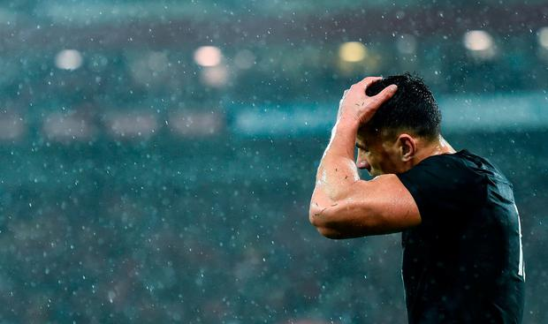Sonny Bill Williams of New Zealand reacts after receiving a red card during the Second Test match between New Zealand All Blacks and the British & Irish Lions at Westpac Stadium in Wellington, New Zealand. Photo by Stephen McCarthy/Sportsfile