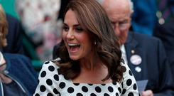 Britain's Catherine, Duchess of Cambridge arrives on Centre Court to watch Britain's Andy Murray play Kazakhstan's Alexander Bublik during their men's singles first round match on the first day of the 2017 Wimbledon Championships at The All England Lawn Tennis Club in Wimbledon, southwest London, on July 3, 2017. / AFP PHOTO / Adrian DENNIS /