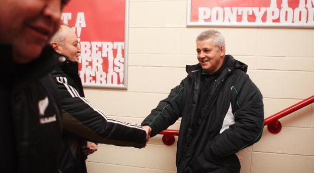 Graham Henry coach of the All Blacks and Warren Gatland coach of Wales shake hands in the corridor during a New Zealand All Black Captain's Run at the Millennium Stadium on November 21, 2008 in Cardiff, England. (Photo by Ross Land/Getty Images)