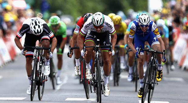 Peter Sagan of Slovakia and team Bora-Hansgrohe makes his way to cross the line to win stage 3 of the 2017 Tour de France, a 212.5km road stage from Verviers to Longwy on July 3, 2017 in Longwy, France. (Photo by Bryn Lennon/Getty Images)