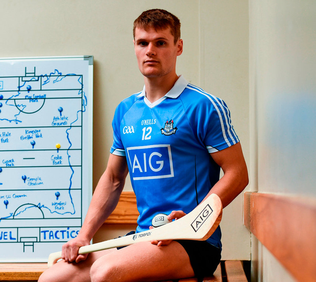 Dublin hurler Cian O'Callaghan in Parnell Park to help AIG Insurance launch their latest travel insurance offering. Photo: Sportsfile