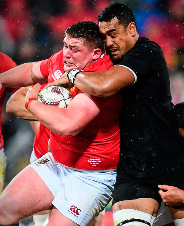 Tadhg Furlong is tackled by Jerome Kaino of New Zealand during the second test in Wellington. Photo: Sportsfile
