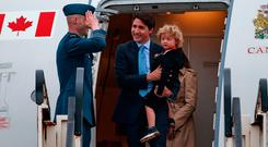 Prime Minister of Canada. Justin Trudeau, wife Sophie Grégoire-Trudeau and son Hadrien arrive at Dublin airport (Picture: Arthur Carron)