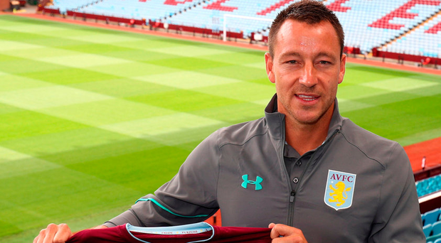 New Aston Villa signing John Terry being unveiled at Villa Park yesterday. Photo: PA